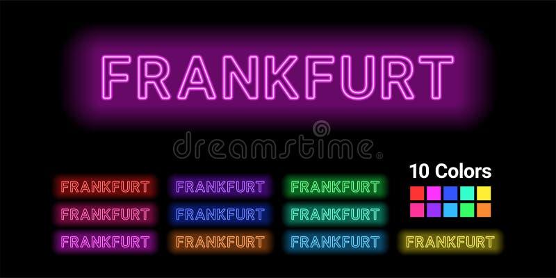 Nombre de neón de la ciudad de Francfort libre illustration