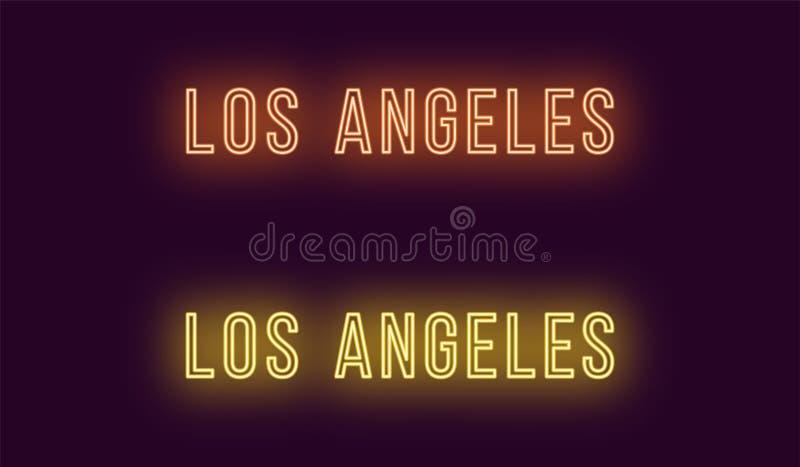 Nombre de neón de la ciudad de Los Angeles en los E.E.U.U. Texto del vector ilustración del vector