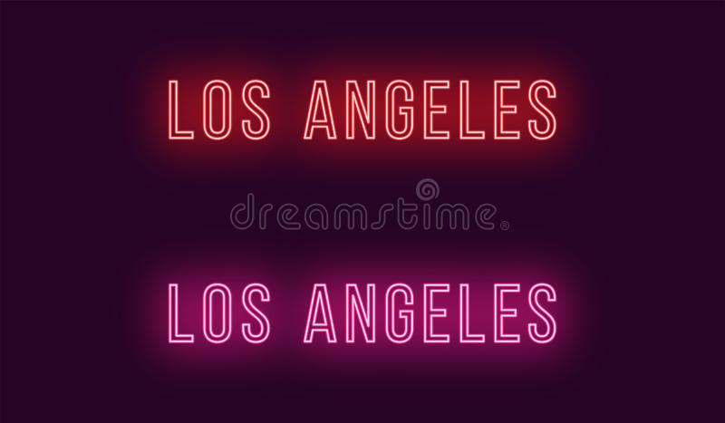 Nombre de neón de la ciudad de Los Angeles en los E.E.U.U. Texto del vector libre illustration