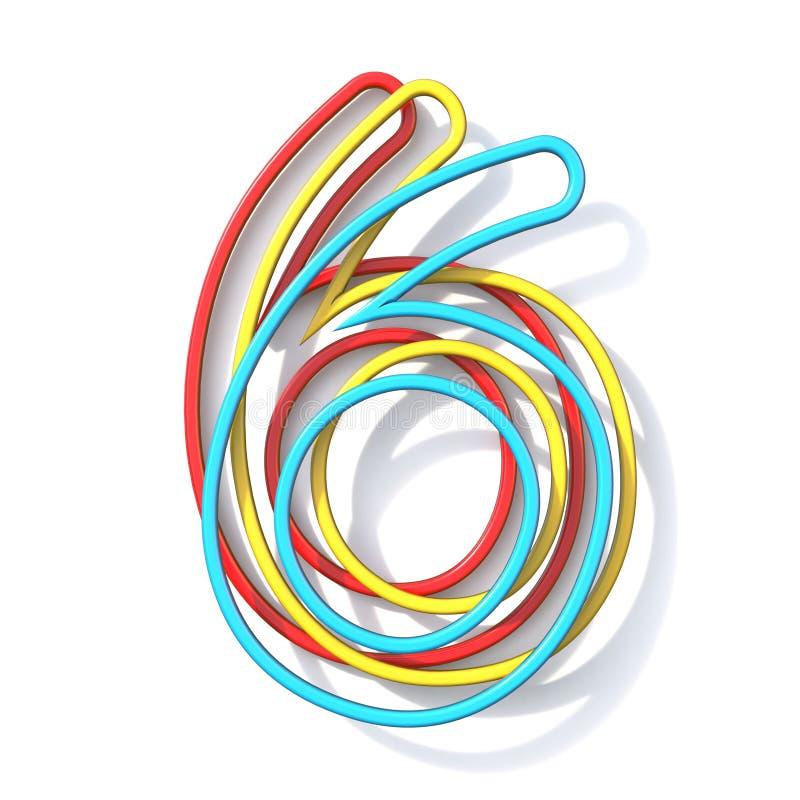 Nombre de police de base de fil de la couleur trois 6 SIX 3D illustration de vecteur