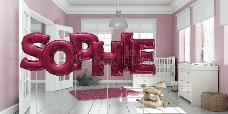 Nombre el sophie hecho de globos inflables rosados en escena interior del cuarto de niños ilustración del vector