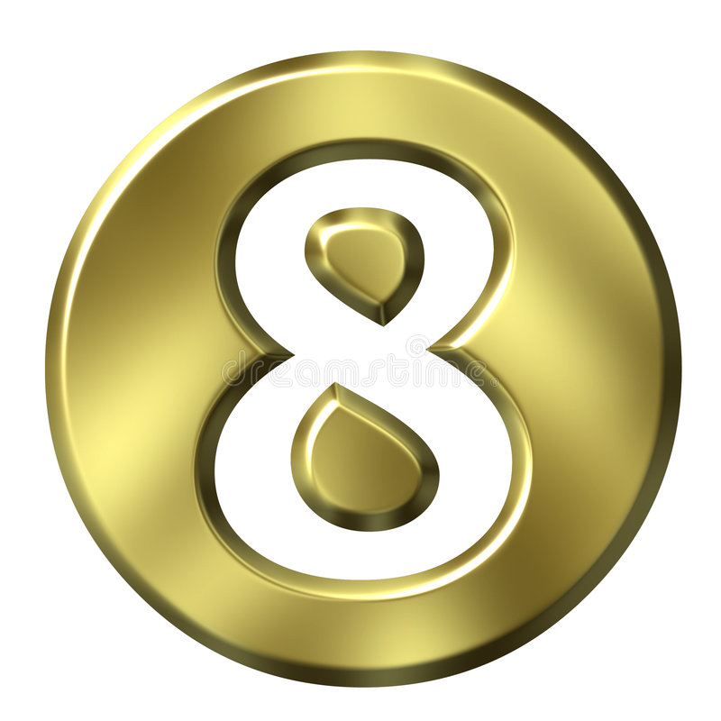 Nombre encadré d'or 8 illustration stock