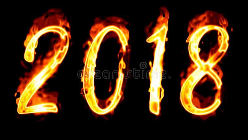 nombre 2018 flamboyant sur le noir images libres de droits