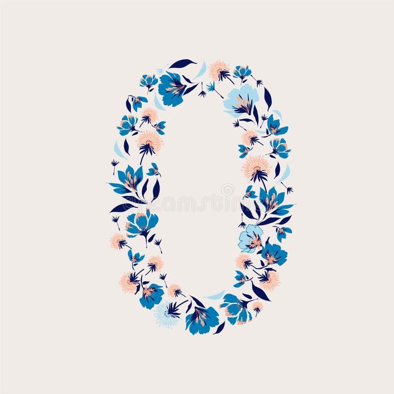 Nombre floral zéro illustration de vecteur