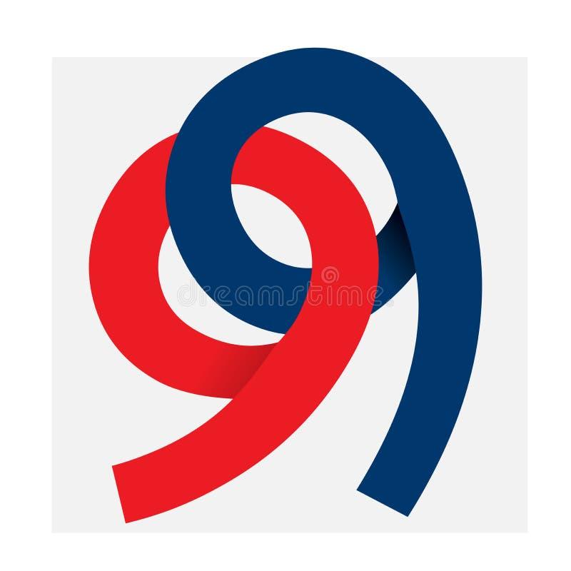 Nombre logo_99 d'isolement par illustration anniversay ou plus illustration stock