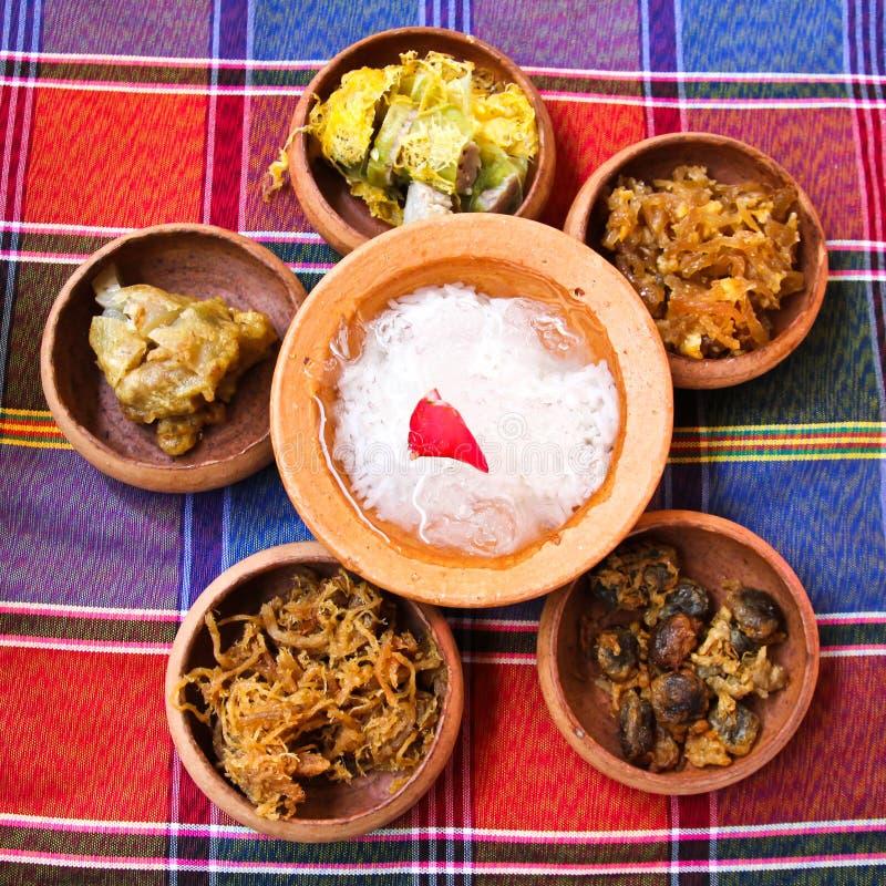 Nombre tailandés Kao-Chae de la comida fotos de archivo