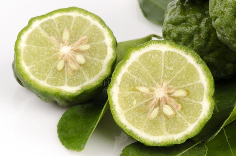 Nombre tailandés mA-krut o cal de la cal o de la sanguijuela del cafre o Mauritius Papeda o bergamota. (Hystrix DC de la fruta cít fotos de archivo libres de regalías
