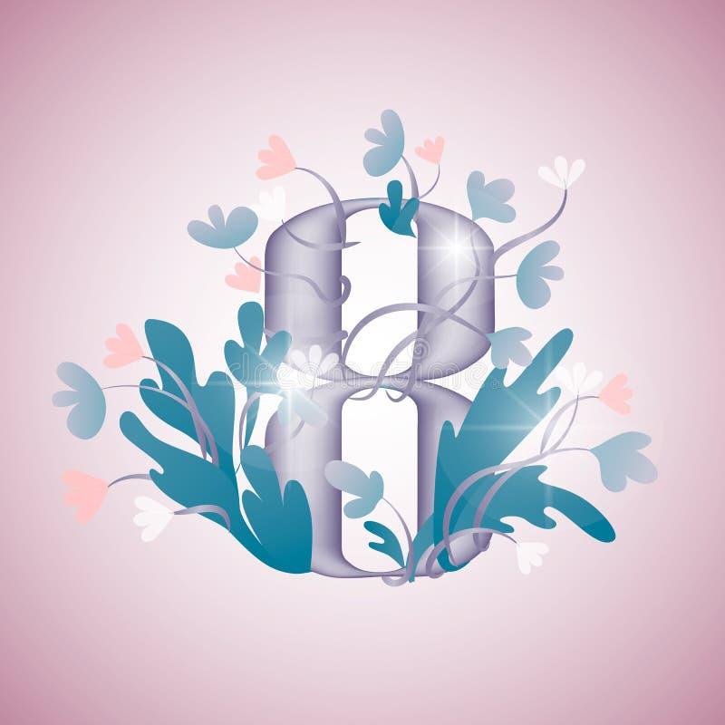 Nombre volum?trique 8 avec des fleurs images libres de droits