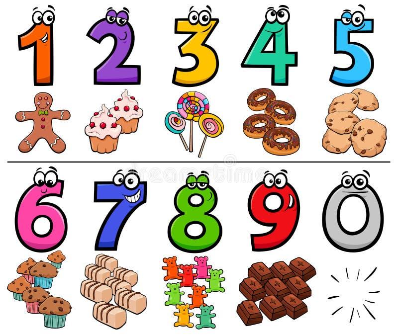 Nombres éducatifs de bande dessinée réglés avec des bonbons illustration libre de droits