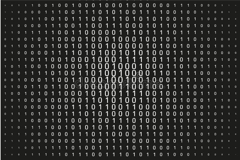 Nombres aléatoires 0 et 1 Fond dans un style de matrice Modèle de code binaire avec des chiffres sur l'écran illustration de vecteur