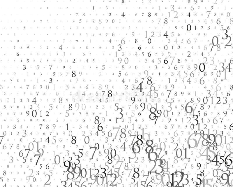 Nombres aléatoires 0 et 9 Fond dans un style de matrice Modèle de code binaire avec des chiffres sur l'écran, caractère en baisse illustration de vecteur