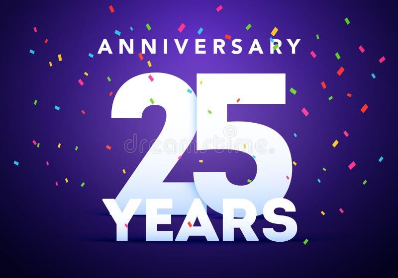 25 nombres audacieux d'anniversaire avec les confettis colorés 25ème calibre de partie d'événement d'anniversaire de célébration illustration de vecteur