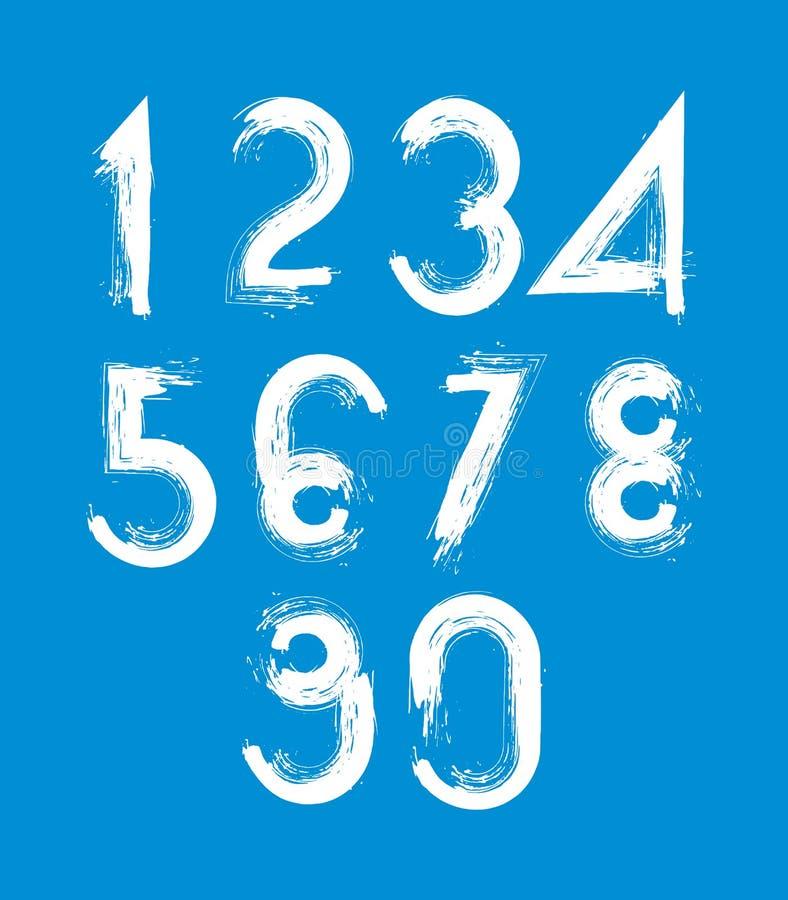 Nombres blancs manuscrits de vecteur d'isolement sur le fond bleu, PA illustration de vecteur