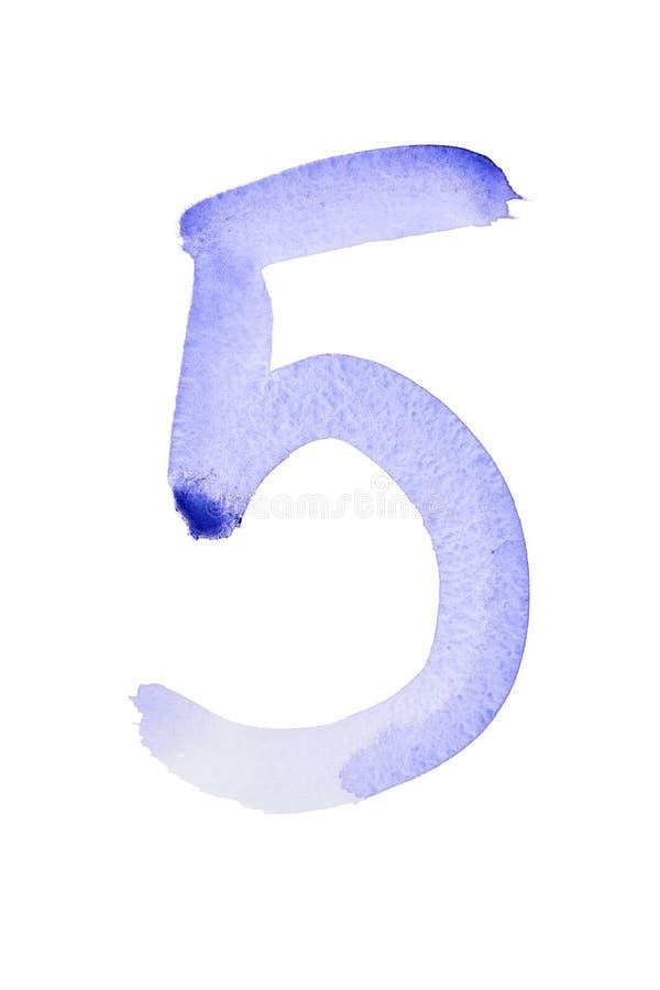Nombres bleus d'aquarelle illustration libre de droits