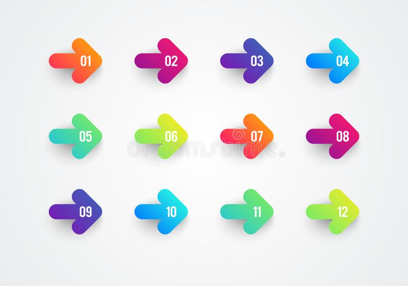 Nombres colorés plats de gros point noir de flèche de gradient d'abrégé sur vecteur 1 12 illustration libre de droits