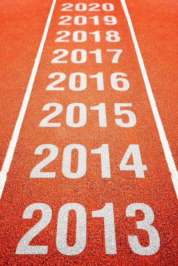 Nombres d'année sur la voie courante d'athlétisme photographie stock libre de droits