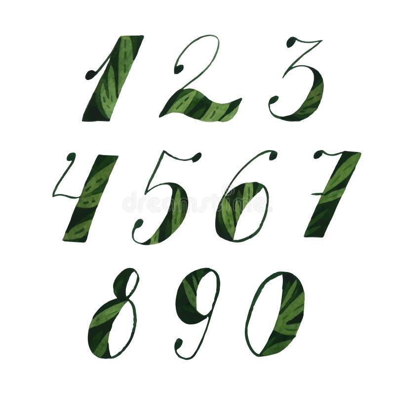 Nombres d'aquarelle illustration stock