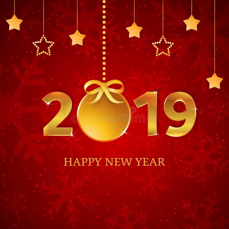 nombres 2019 d'or avec la boule de Noël avec le ruban, l'arc, les étoiles accrochantes sur le fond rouge avec des flocons de neig illustration stock
