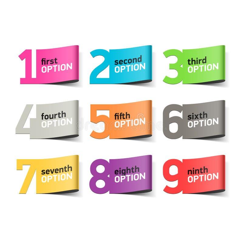 Nombres d'options, élément d'infographics illustration libre de droits