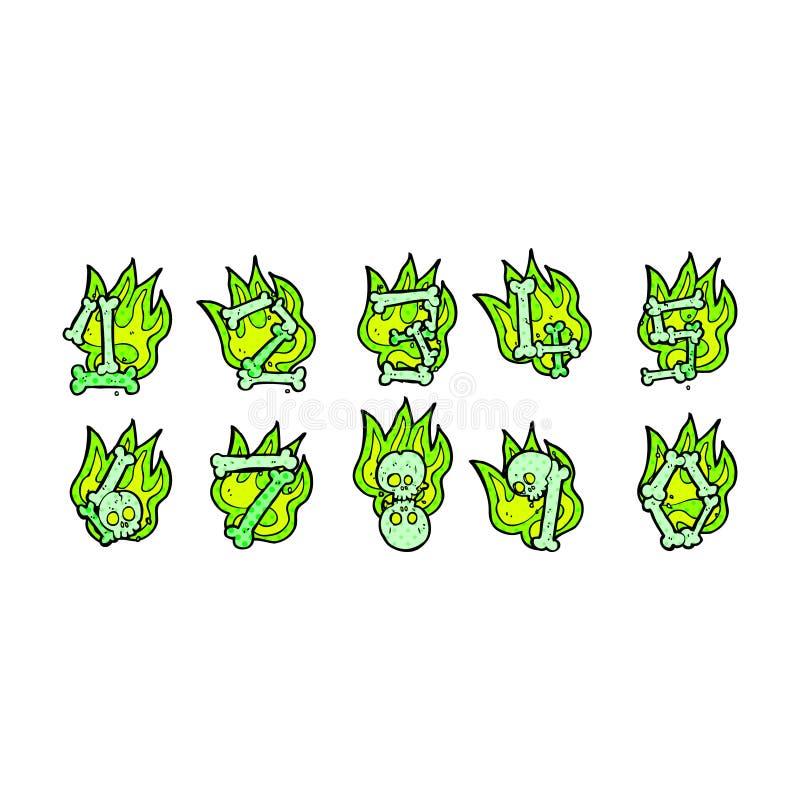 nombres d'os comiques de Halloween de bande dessinée illustration libre de droits