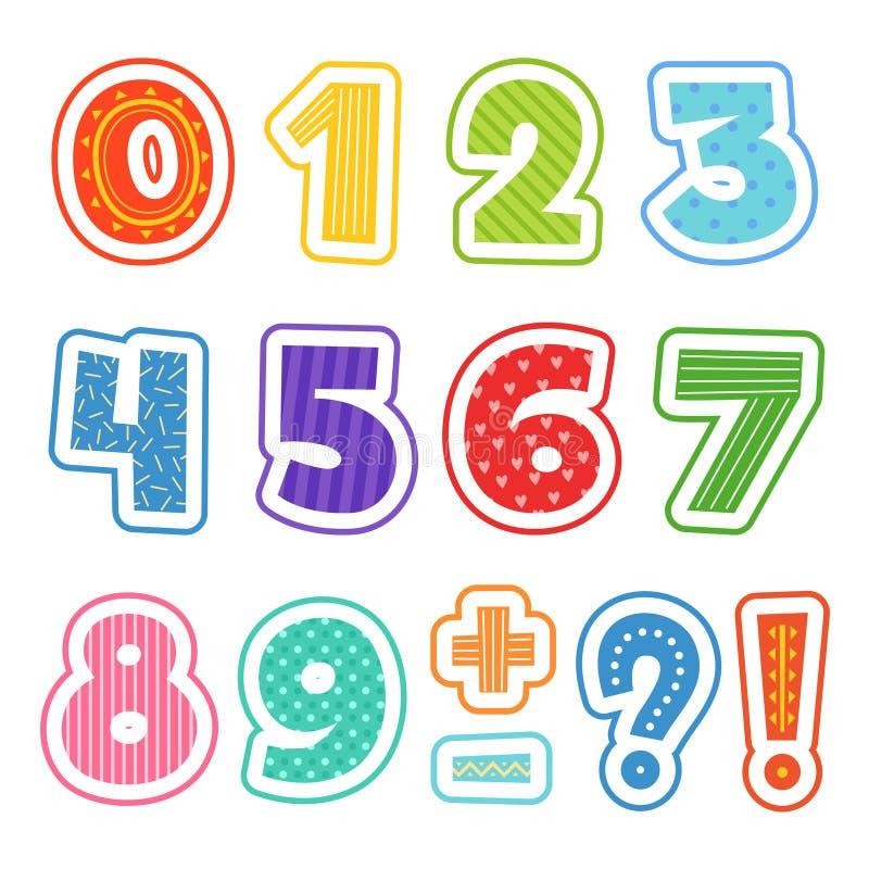 nombres de bande dessinée L'alphabet coloré d'amusement pour l'école badine des illustrations de clipart des textes de vecteur d' illustration stock