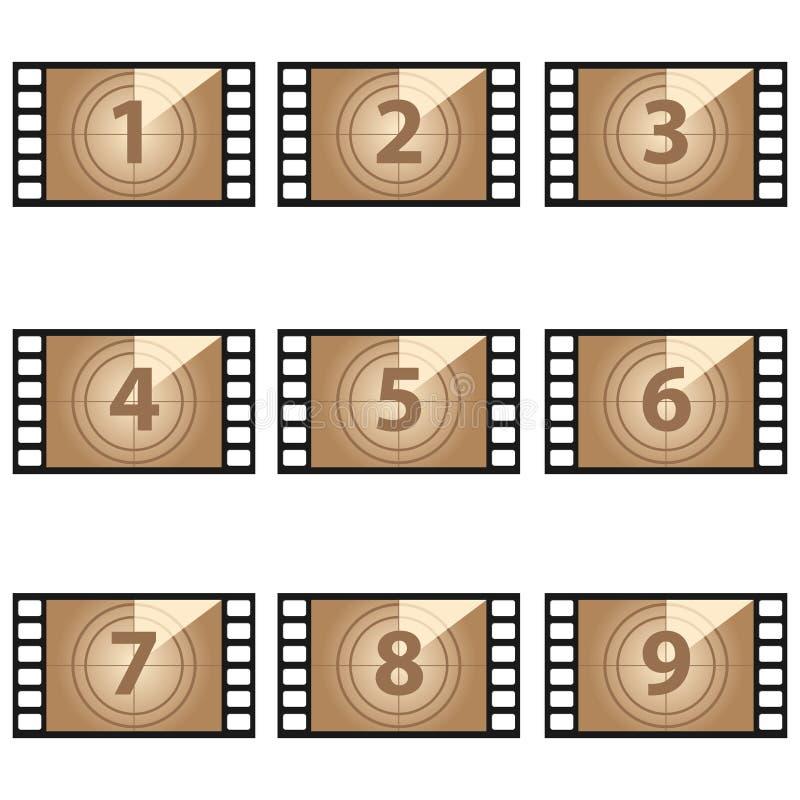 Nombres de compte à rebours de film réglés illustration de vecteur