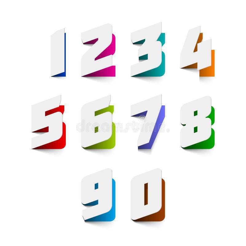 Nombres de coupe de papier illustration stock