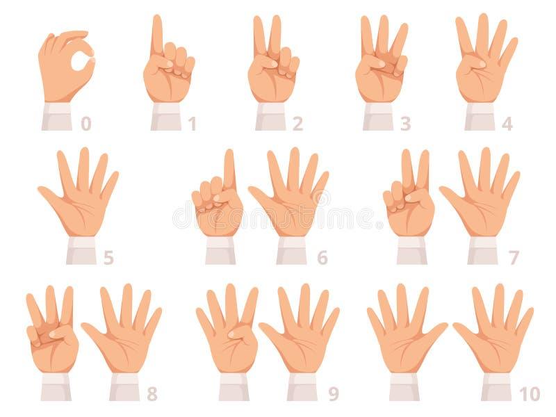Nombres de geste de mains La paume et les doigts humains montrent l'illustration différente de bande dessinée de vecteur de nombr illustration libre de droits