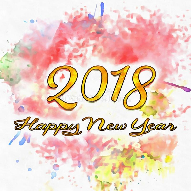 Nombres de la bonne année 2018 d'années illustration de vecteur