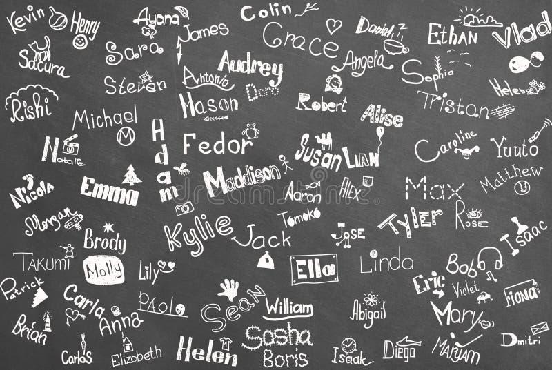 Nombres de los niños ilustración del vector