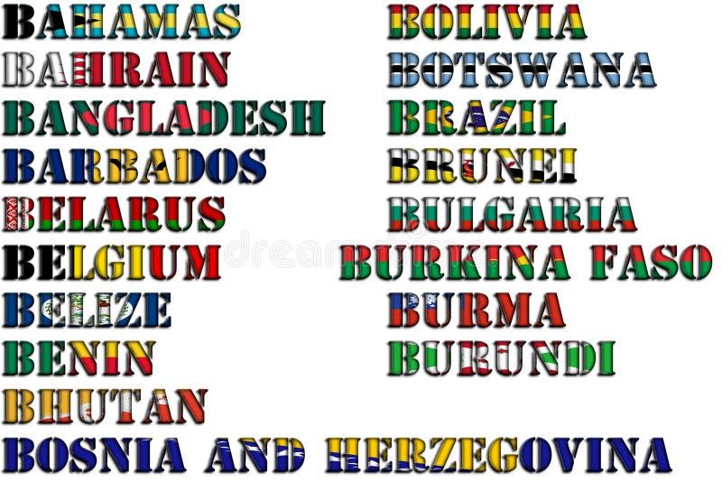 Nombres de país en colores de las banderas nacionales - conjunto completo Letra B libre illustration