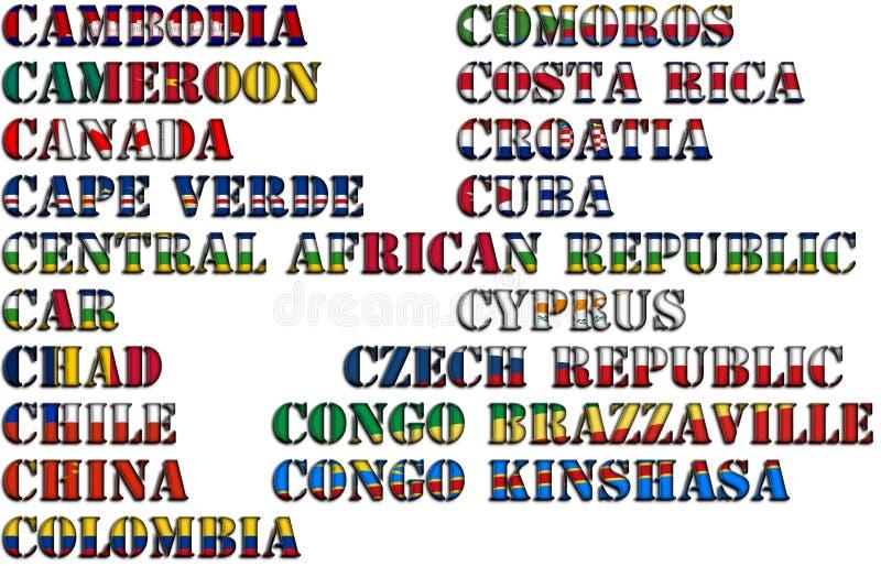 Nombres de país en colores de las banderas nacionales - conjunto completo Letra C libre illustration