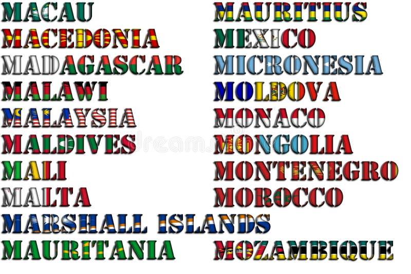 Nombres de país en colores de las banderas nacionales - conjunto completo Letra M ilustración del vector