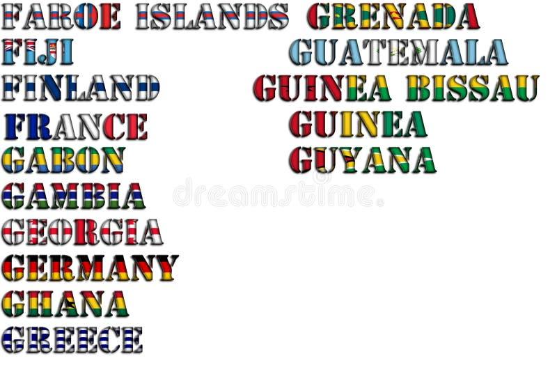Nombres de país en colores de las banderas nacionales - conjunto completo Letras F, G ilustración del vector