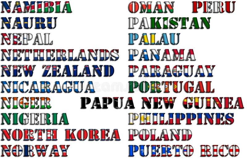 Nombres de país en colores de las banderas nacionales - conjunto completo Letras N, O, P libre illustration