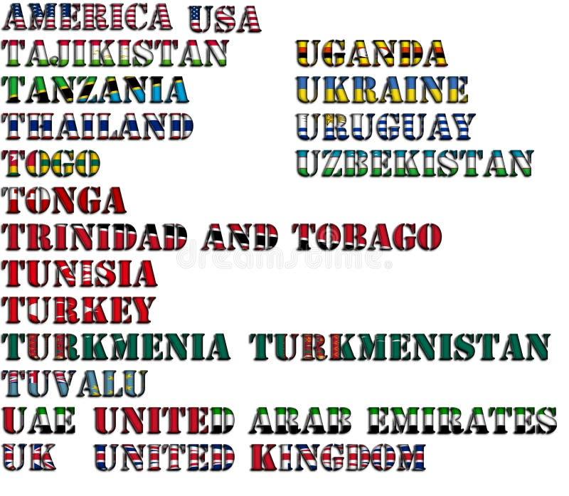 Nombres de país en colores de las banderas nacionales - conjunto completo Letras T, U libre illustration