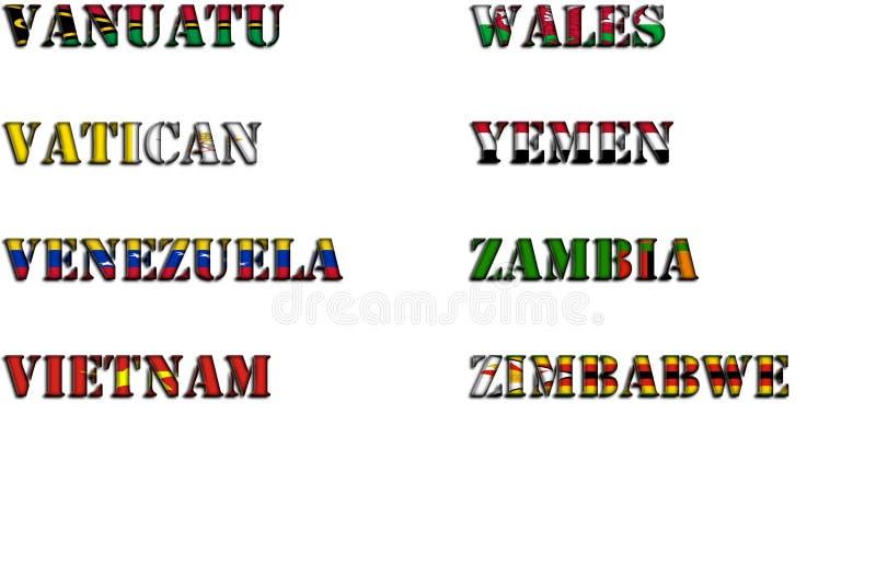 Nombres de país en colores de las banderas nacionales - conjunto completo Letras V, W, Y, Z ilustración del vector