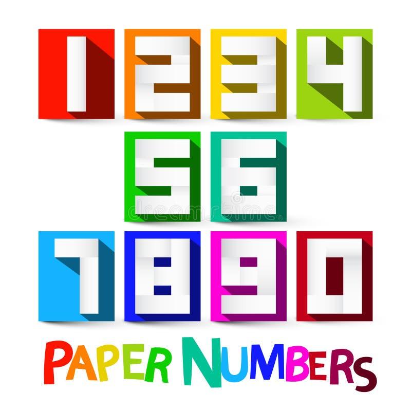 Nombres de papier réglés Nombres colorés de vecteur de coupe de papier illustration de vecteur