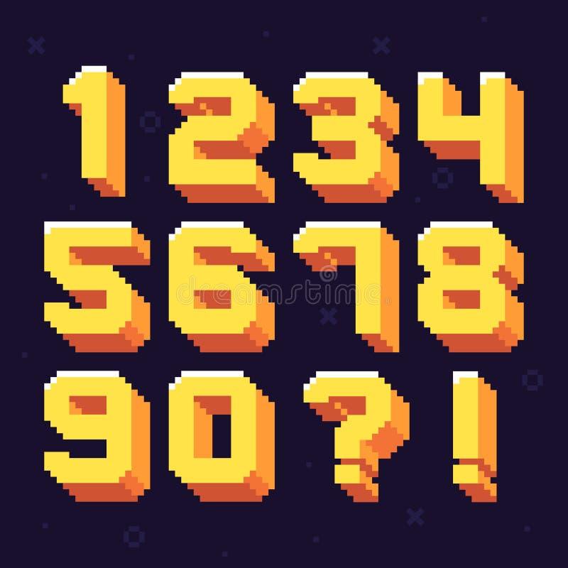 Nombres de pixel Les rétros 8 pixels mordus numérotent l'ensemble d'illustration de vecteur de police illustration de vecteur