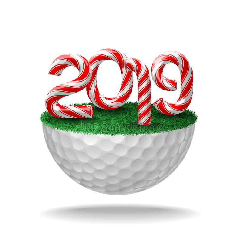 Nombres de 2019 sur la boule de golf illustration stock