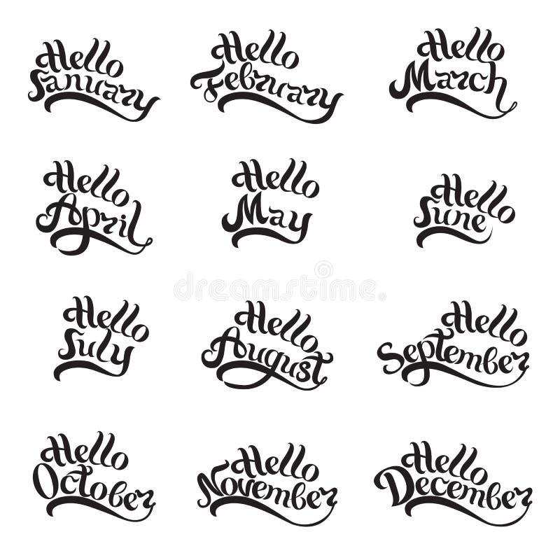 Nombres de todos los meses del año escrito a mano deletreado Letras hermosas en el fondo blanco Imagen aislada para stock de ilustración