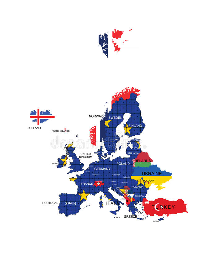 Nombres del mapa y de país del territorio de unión europea libre illustration