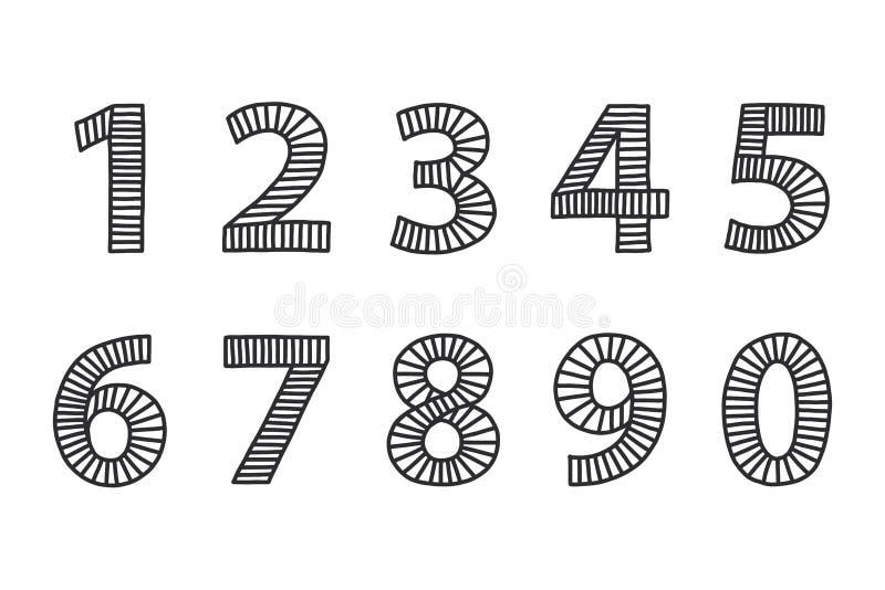 Nombres dessinés à main levée d'un à zéro illustration de vecteur