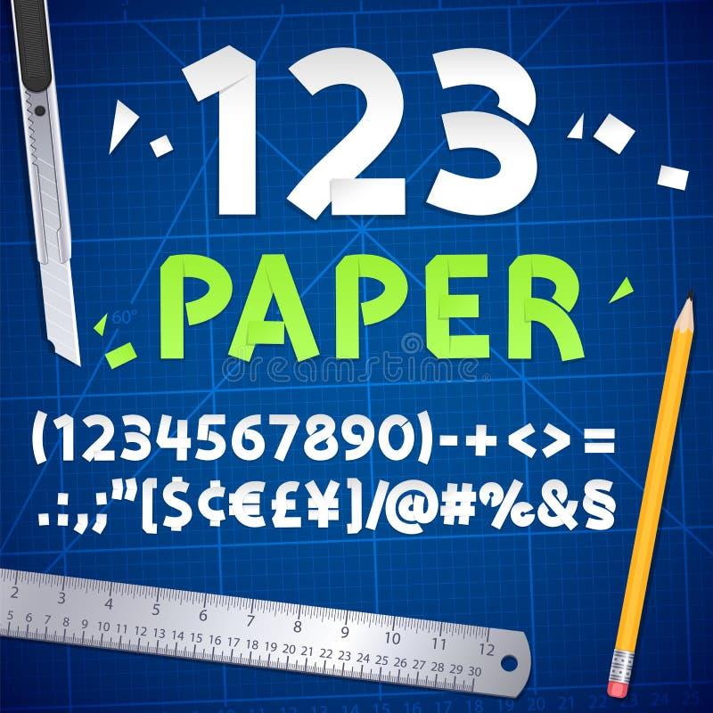 Nombres et ensemble de papier coupés d'équipement illustration de vecteur