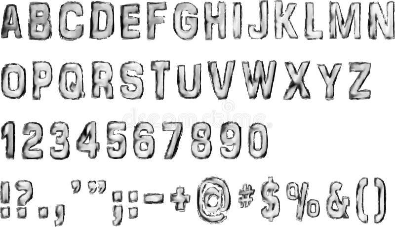 Nombres et symboles d'alphabet anglais illustration libre de droits