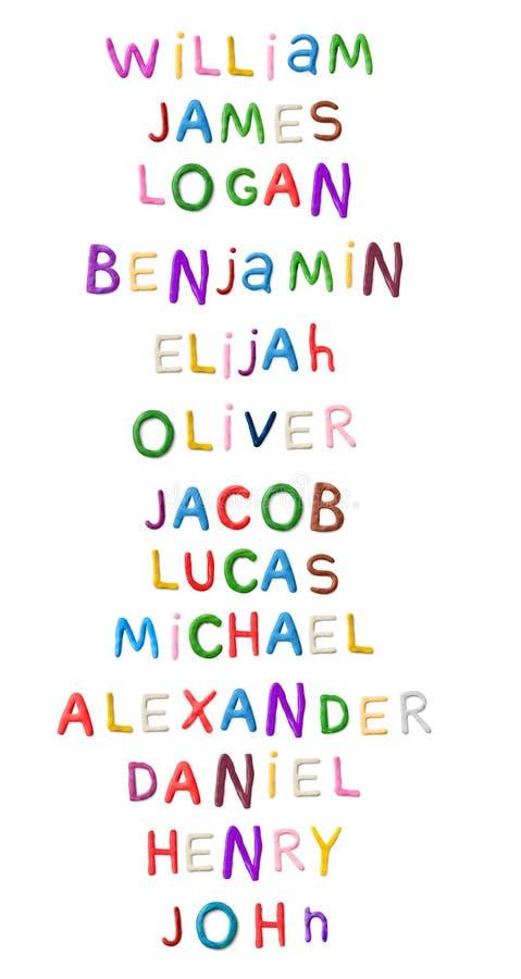 Nombres hechos a mano de los muchachos de la arcilla de modelado libre illustration