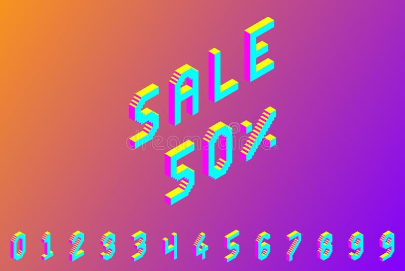 Nombres isométriques colorés audacieux du pixel 3d illustration de vecteur