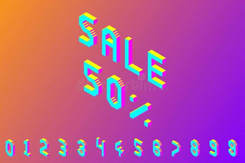 Nombres isométriques colorés audacieux du pixel 3d illustration stock