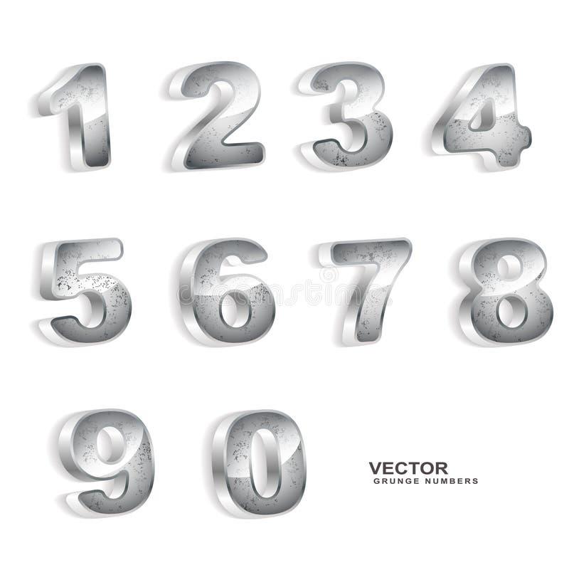 Nombres métalliques du grunge 3D illustration libre de droits