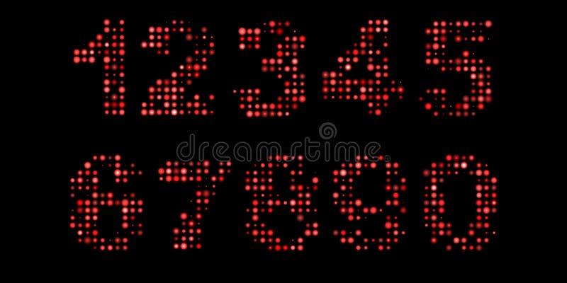 Nombres menés au-dessus de noir illustration de vecteur